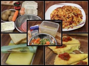 Berner Rösti mit Geflügelsalami, Käsetoast mit Salsa und leider nicht im Bild: Vanilleeis mit Brombeermarmelade und Gemüserahmsuppe